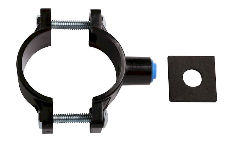 obejma odpływu ABS z nakrętką 1/4', czarna