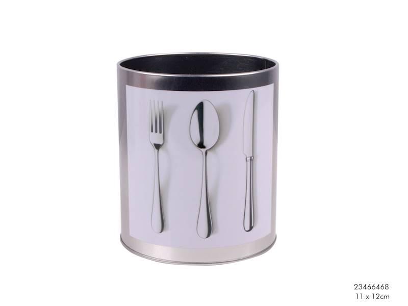 Metalowa puszka, pojemnik na sztućce, okrągły, 11x11cm / Metal container for cutlery 11 cm 8712442077763 / 23466468