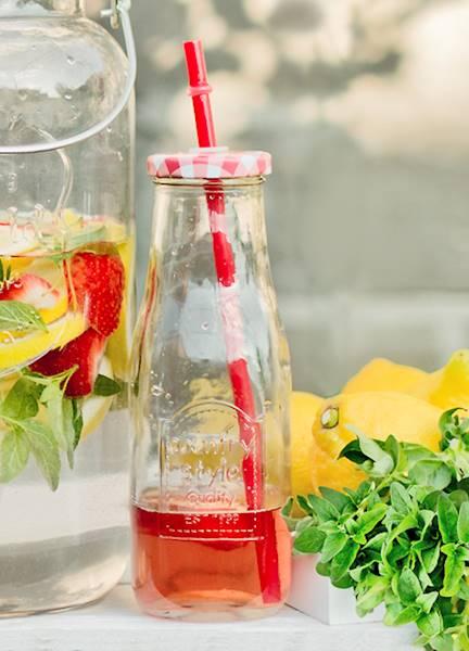 PARTY szklana butelka ze słomką KRATKA 250 ml / Glass juicy / milk bottle straw 250ml 23468288 / 8712442127895