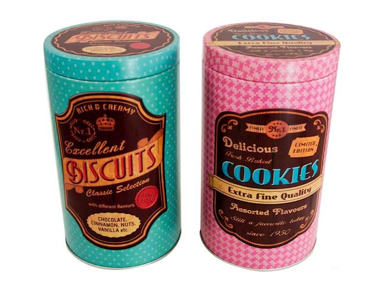 Metalowa puszka/pojemnik do żywności, wzory, 19x11cm / Metal box high Cookies design 8712442125280 / 23466248