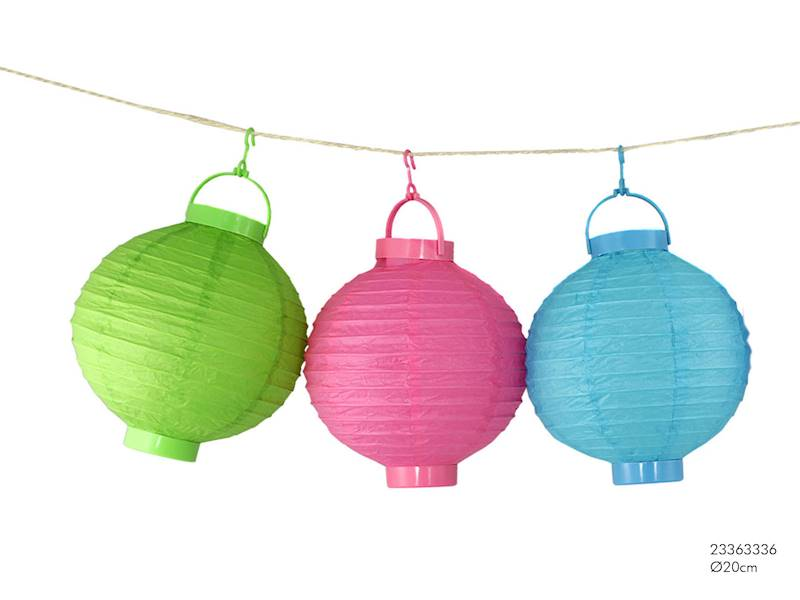 LED LAMPION PAPIEROWY OWALNY 3 kolory  20 cm / LED Paper ball garden light 20cm 8712442901280 / 23363336 Colours