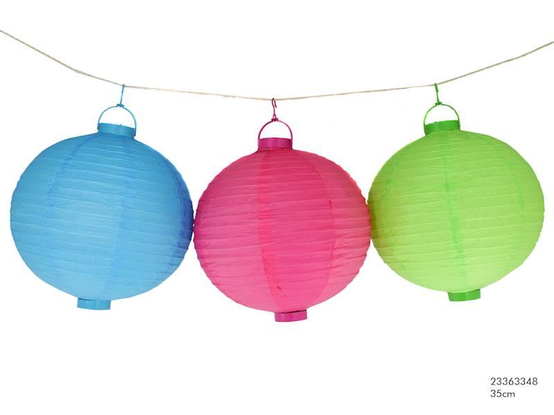 LED Lampion papierowy owalny, 3 kolory, 35cm
