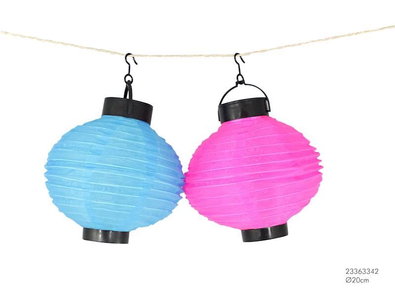 LED Lampion solarny materiałowy, owalny, 2 kolory, 20cm
