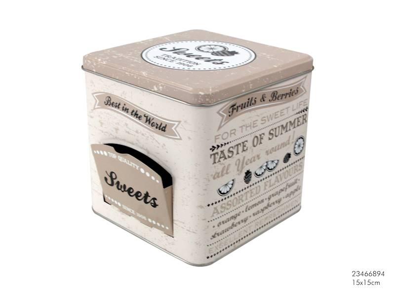 Metalowa puszka/pojemnik do żywności, 15x15cm / Metal box w/door Sweets 15x15cm 8712442141709 / 23466894