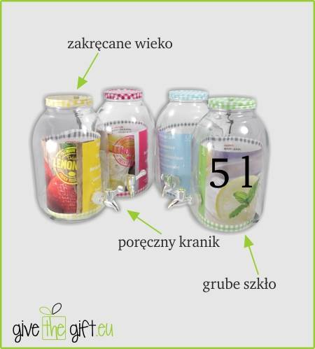 PARTY słoik szklany z kranikiem metal zakrętka 5 l / Glass jar with tap 5 l metal cover 23468329 / 8712442112280