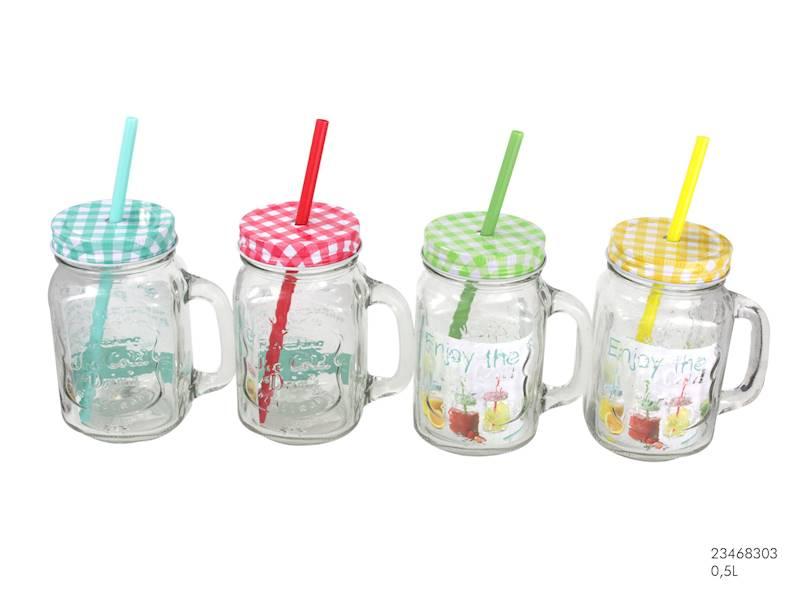 SŁOIK SZKLANY/KUBEK ZE SŁOMKĄ I METALOWĄ ZAKRĘTKĄ KRATKA / Glass mug jar met lid with straw 450 ml 23468303 / 8712442110927