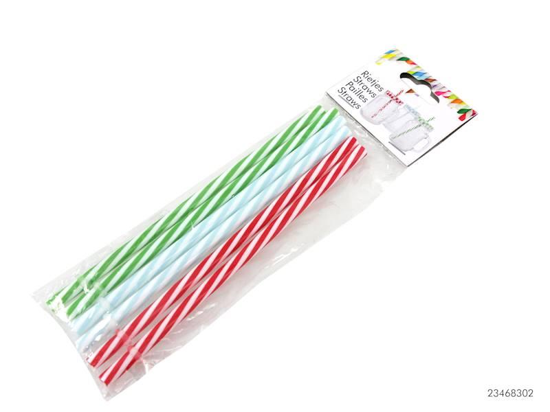 PARTY Słomki plastikowe, 3 kolory, 6szt. / Plastic straws set 6 pcs colorful 8712442124719 / 23468302