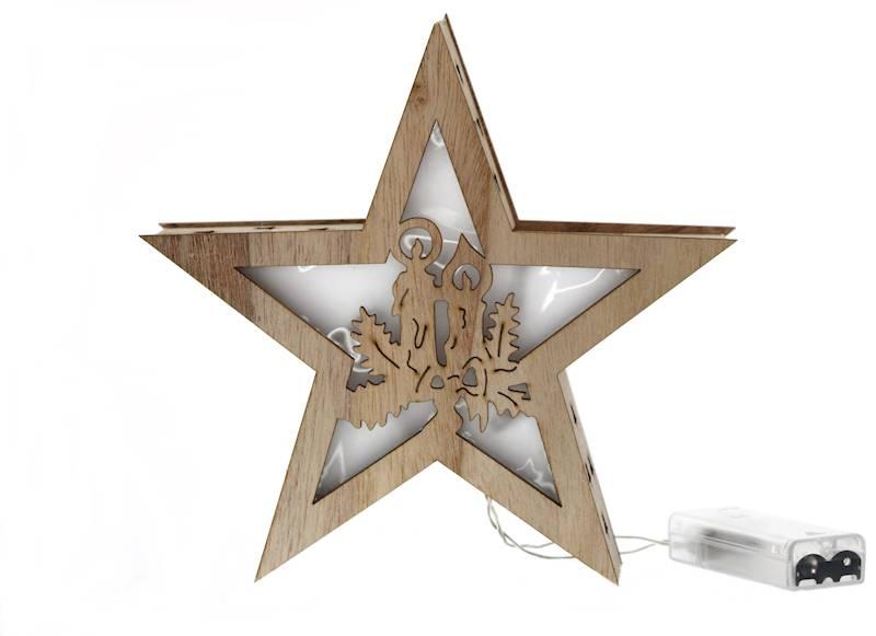 LED Drewniana gwiazda 20cm