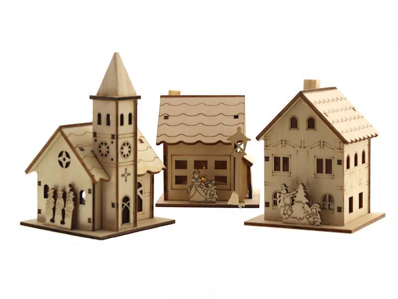 LED Drewniany domek ze świeczką LED, 3 rodzaje / LED XMAS wooden house with light 8712442035015 / 23103106