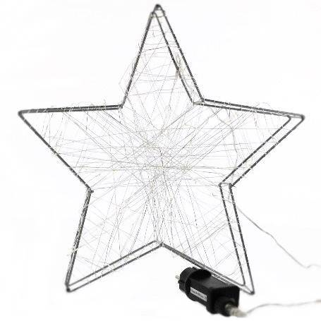 LED Gwiazda metal/żyłka 80 ledów, 38cm / LED wire star 38cm - 80 warm leds 8712442136965 / 23121702