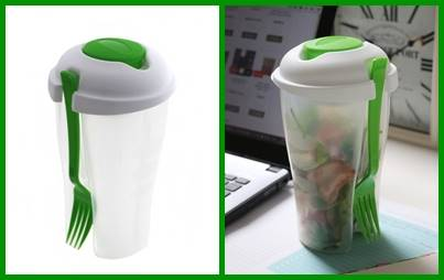Plastikowy kubek, pojemnik do owoców i sałatek z widelcem / Plastic box for fruit or salad TO GO 8712442061687 / 24531903