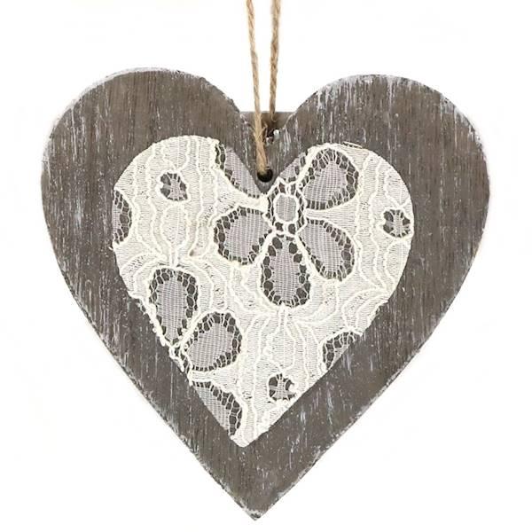 Zawieszka drewniana, serce, 2 kolory, 12x12x1cm / Zawieszka Serce Deco z koronką 12x12 cm 0060005 4711158143452