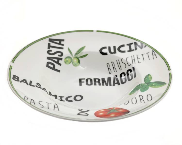 """PIZZA PASTA -Talerz do makaronu i innych potaraw 2 wzory / PIZZA PASTA porcelain plate 10,5"""" design 8712442105565 27020603"""
