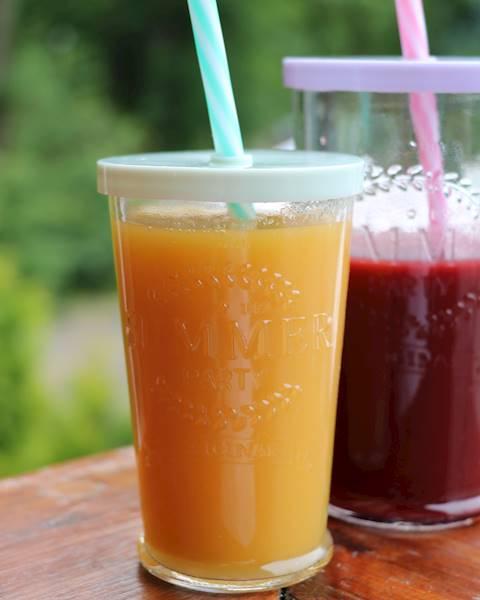 PARTY szklanka SUMMER ze słomką PLASTIK 270 ml / Glass with plastic cover and straw 270ml 23468374 / 8712442152057