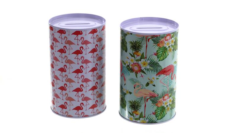 FLAMINGO  Metalowa skarbonka, 2 wzory, 12,5x8cm / FLAMINGO Moneybox, 2 pattern, 4038732201736 / 20173
