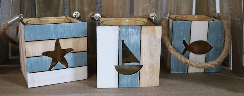 MARINE Drewniany lampion, 3 wzory, 8x8x8cm / MARINE Deco Wooden lampion, 3 pattern, 54845 4047096548456
