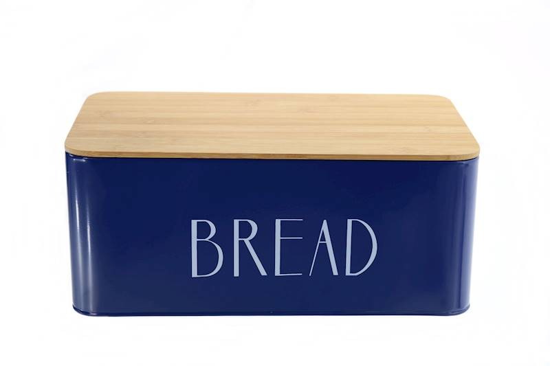 Chlebak metalowy z deską bambusową Bread Granat / Metal Bread box with bambo board 22172381 NL BLUE / 8712442156826