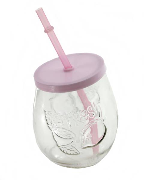 PARTY szklanka FRUIT ze słomką PLASTIK 400 ml / Glass mug fruit cup 400 ml straw 23468422 / 8712442155331