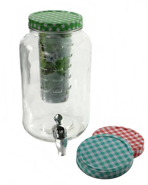 PARTY słoik szklany z kranikiem metal + wkład na owoce 3 l / Glass jar with tap 3 l metal + Ice Fruit 23468313 / 8712442114659