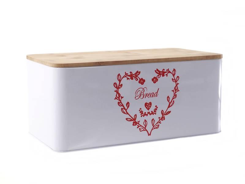 Chlebak metalowy z deską bambusową do krojenia,biały serce / Metal Bread box with bambo board NL HEART 8712442168799 / 22172389