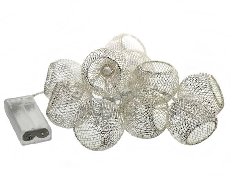 Lampki ledowe koszyczki/kule 10 diod / LED Ball mesh silver 10 pcs warm light 8712442164289 / 23120614