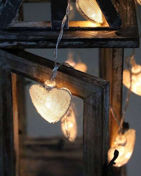 Lampki ledowe metalowe serduszka 10 diod / LED Heart mesh 10 pcs warm light 8712442164180 / 23120565
