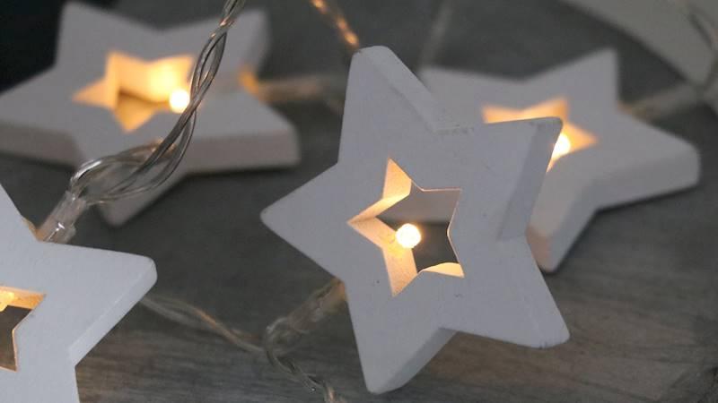 Lampki ledowe drewniane gwiazdki 10 diod / LED Star wooden warm 10 pcs 8712442118374 / 23121323