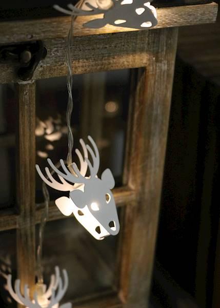 Lampki ledowe metalowe białe renifery 10 diod / LED Deer metal white 10 pcs warm light 8712442167259 / 23120665
