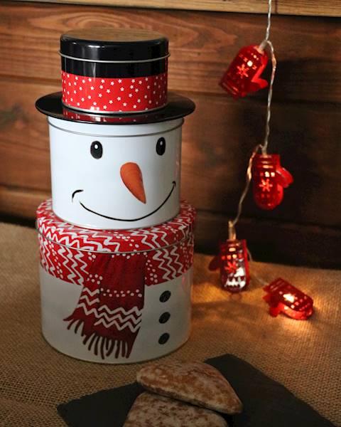 Xmas puszka metalowa bałwan 13,3x26cm / Deco Xmas Tin box snowman 13,5x26 8712442141396 / 23465702