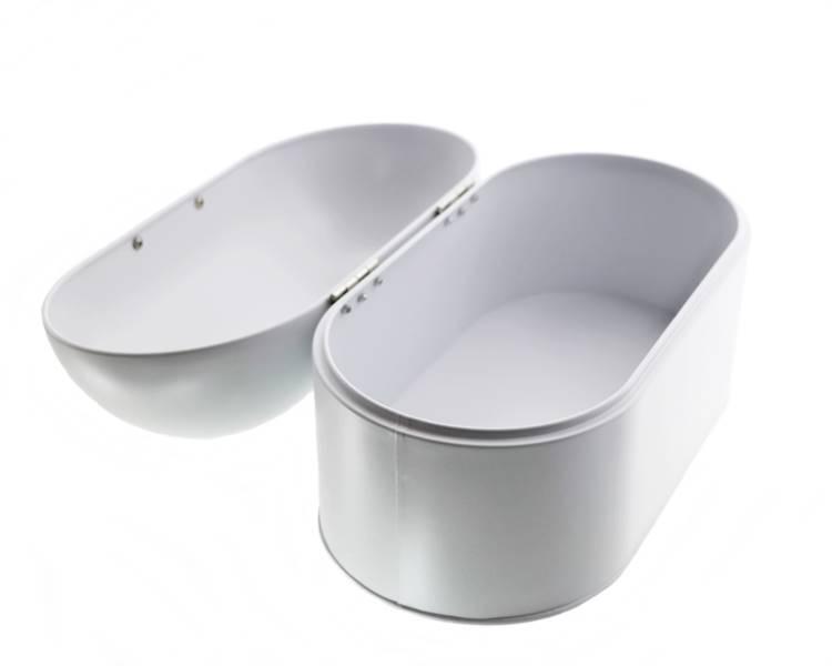 Chlebak metalowy otwierany do góry owalny Biały / Metal Bread box with open cover 22172402 NL white / 8712442947387