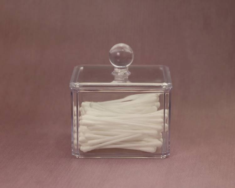 BEAUTY Pojemnik na patyczki waciki organizer 10cm / Bathroom Beauty Box square 9,5x9,5x10 cm 8712442064671 / 24530869