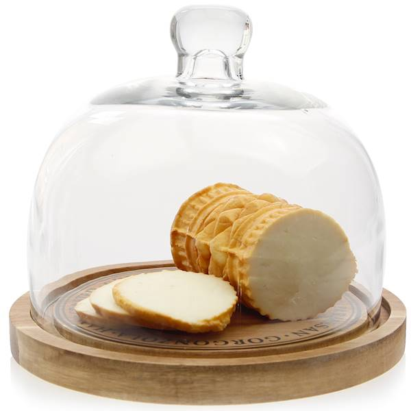 Taca/ patera do serwowania sera / Glass & wood bamboo plateau 19 cm 8712442096412 / 24500748