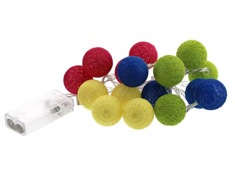 Lampki ledowe kulki na baterie / LED Cottonball colour 16x3cm balls BATERY 8712442954132 / 23362540