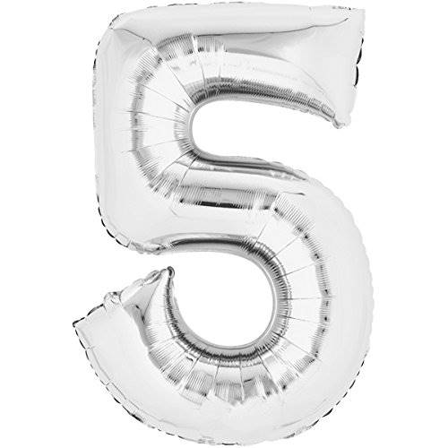 Balloon number 5 - silver - 80cm 71163