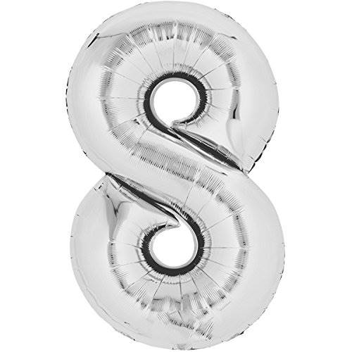 Balloon number 8 - silver - 80cm 71166