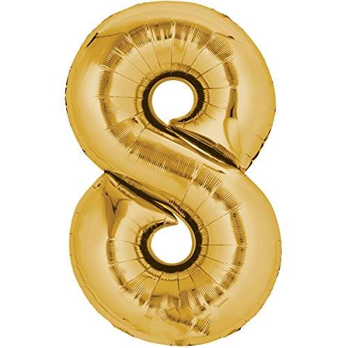 Balloon number 8 - gold - 80cm 71176