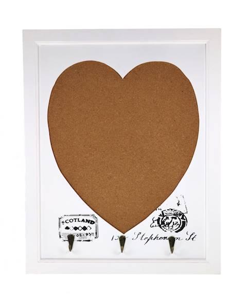 Dekoracyjna tablica korkowa z haczykami serce / Deco hanger/pin board/ heart HH0009 5901466834114