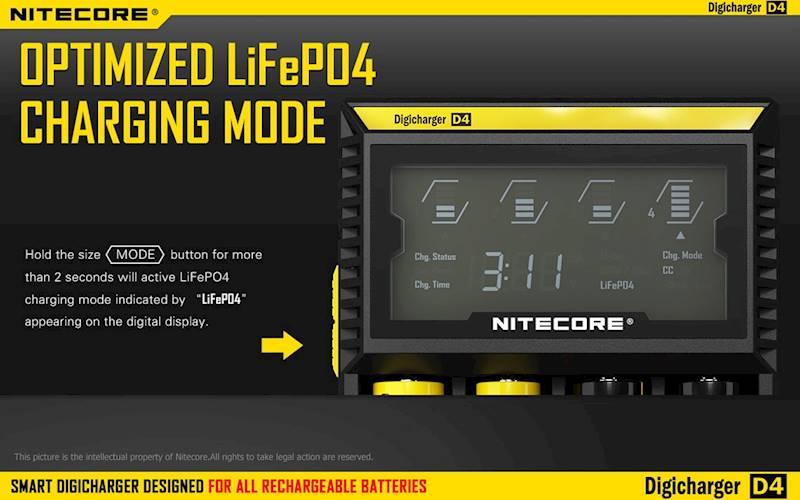 ŁADOWARKA NITECORE D4 EU        Liion/LiFePO4/NiMh