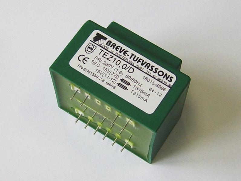 Transformator TEZ 10/D 230/15-15V 0,33A