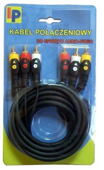 """Kabel 3RCA wtyk - 3RCA wtyk """"łezka"""" 3m"""