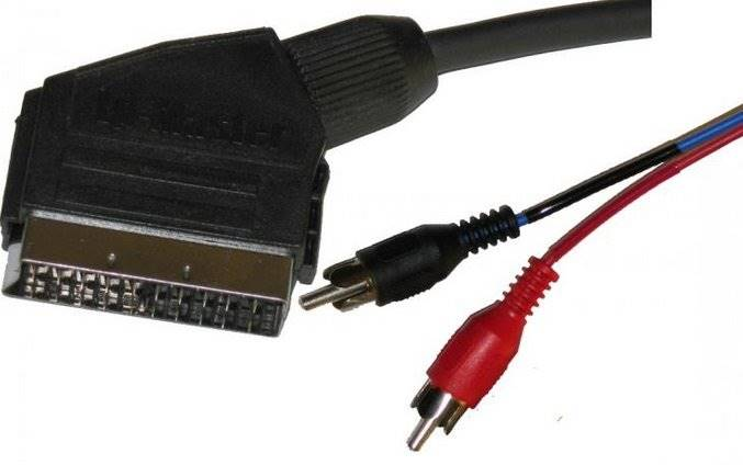 Kabel Euro wtyk - 2RCA wtyk audio