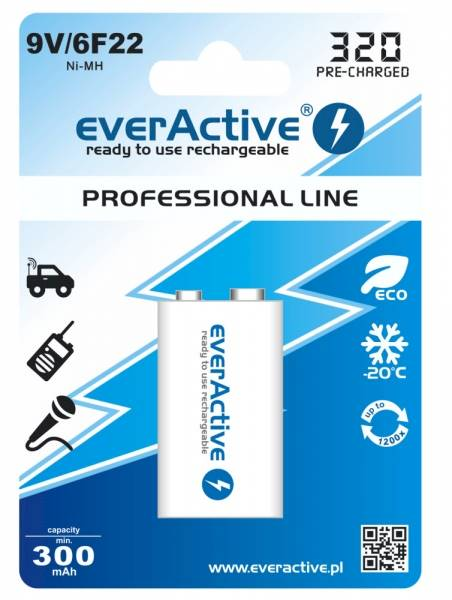 Akumulator 6F22 everActive 300mAh 9V