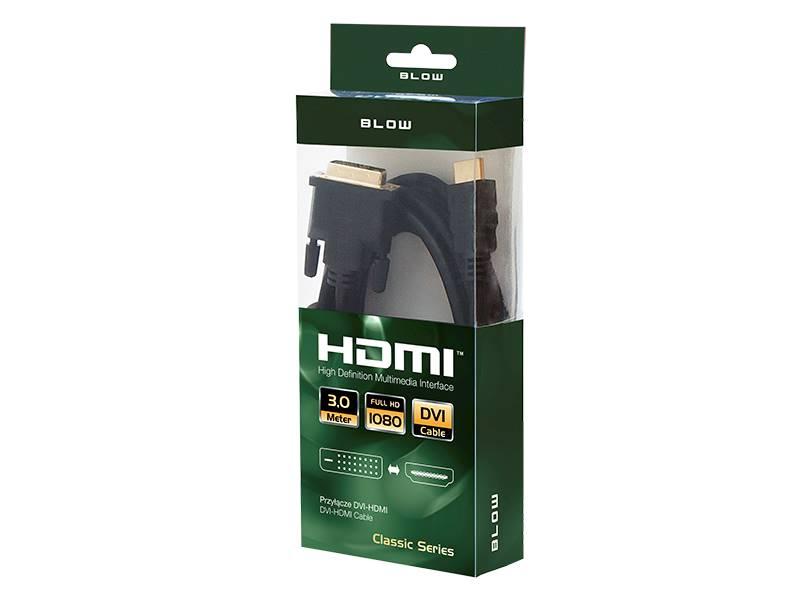 Kabel DVI wtyk - HDMI wtyk 3m BLISTER