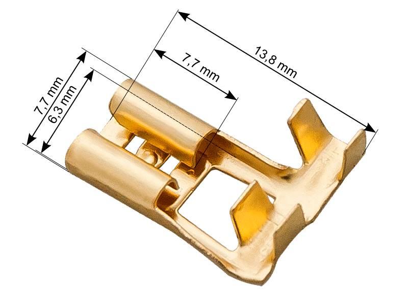 Konektor nieizolowany płaski żeński 6,3 mm kątowy