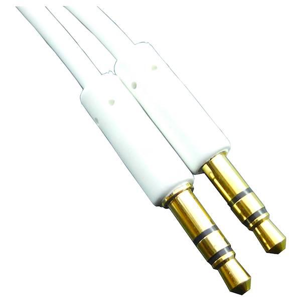 Kabel AUX 2x wtyk Jack 3,5mm 0,5m biały Vitalco