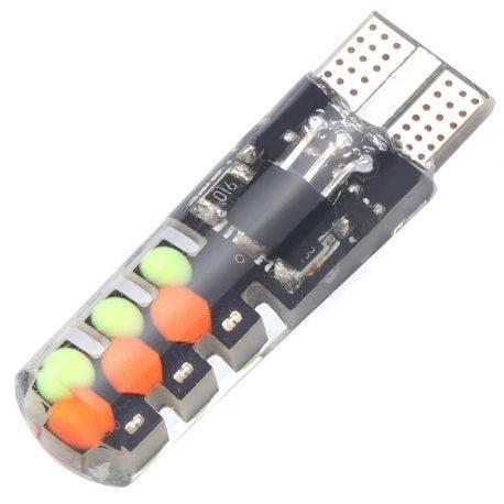 Żarówka LED 12V T10 2W RGB 2sztuki + pilot