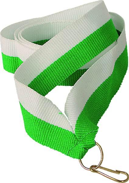 wstążka biało/zielona 1 cm