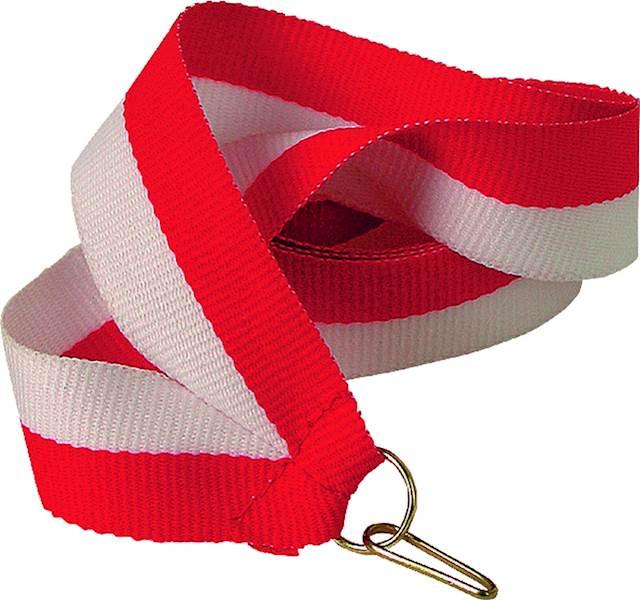 wstążka biało/czerwona szer. 2 cm