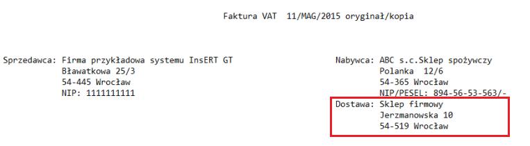 Wzorzec tekstowy - Faktura z adresem dostawy