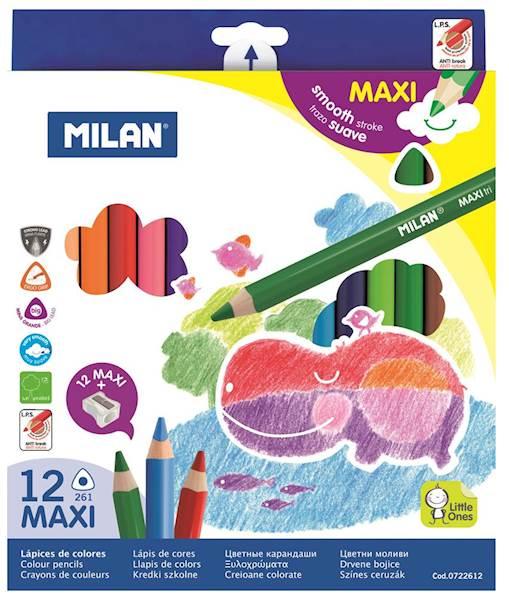 Kredki 12 kolorów Maxi trójkątne Milan